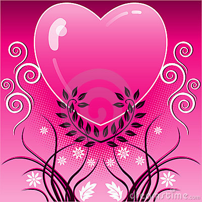 Pink heart and vines