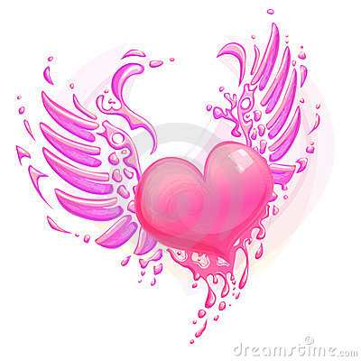 Pink heart with wings pink heart with wings stock