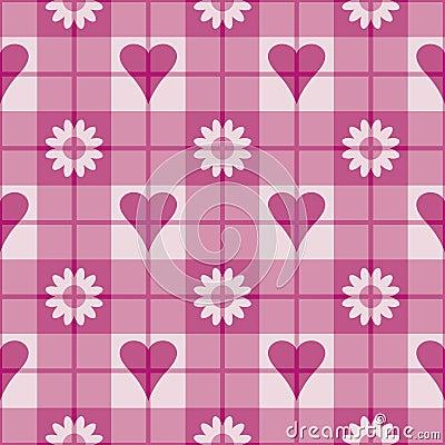 Pink Hearts-Flowers Pattern