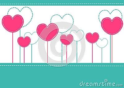 Pink hearts invitation card