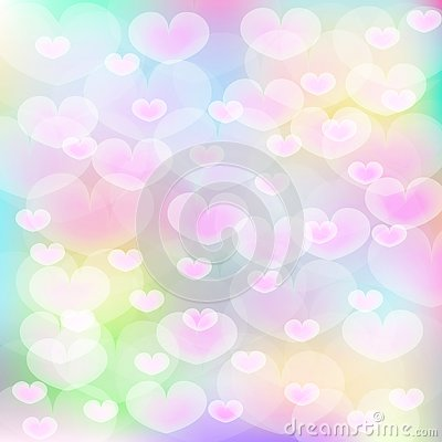 Pink hearts over multi color background Stock Photo
