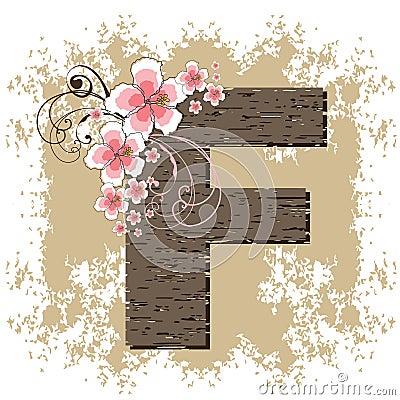Pink hibiscus alphabet F