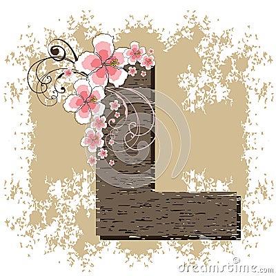Pink hibiscus alphabet L