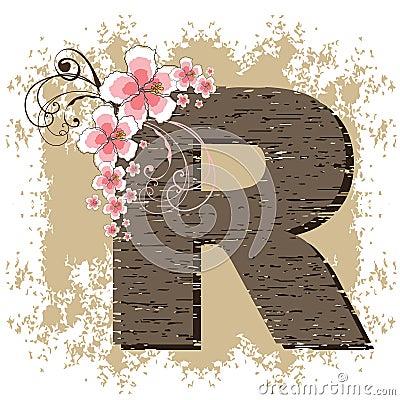 Pink hibiscus vintage alphabet R