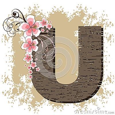Pink hibiscus vintage alphabet U