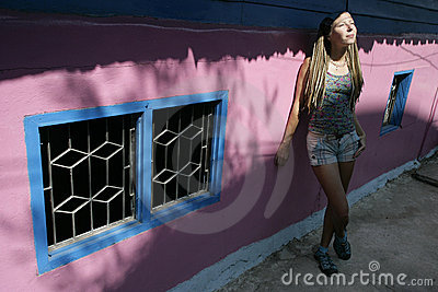 Pink house and a girl