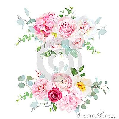 Free Pink Hydrangea, Red Rose, White Peony, Camellia, Ranunculus, Euc Stock Photos - 113912773