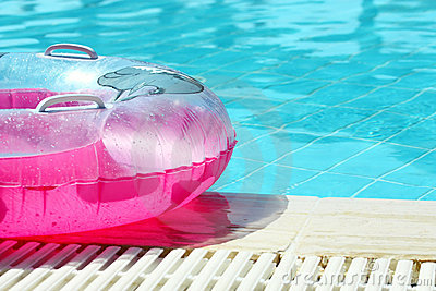 Pink inflatable round tube