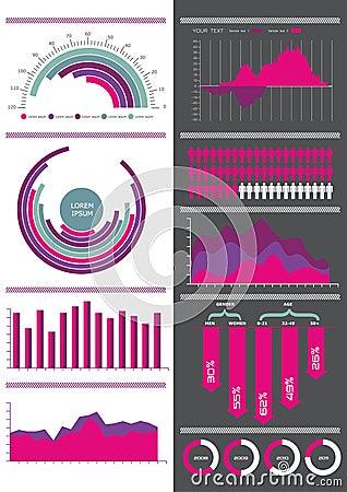 Pink infographic set.