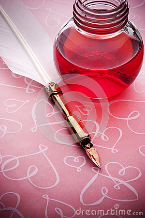 Pink Ink Pen Love Background