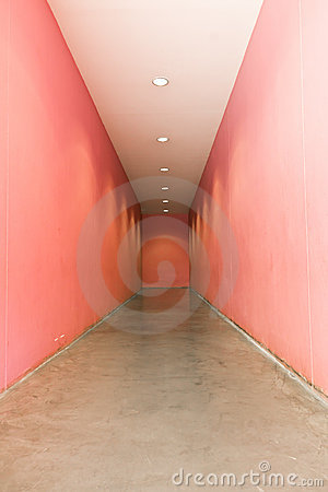 Pink interior corridor