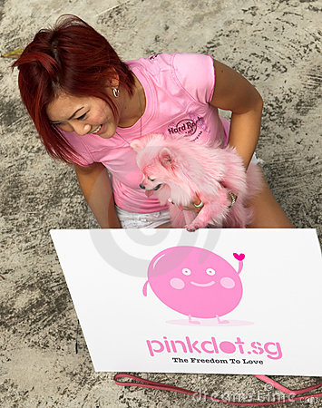 Pink lady, dog and dot. Editorial Image