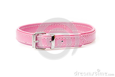 Pink leather collar