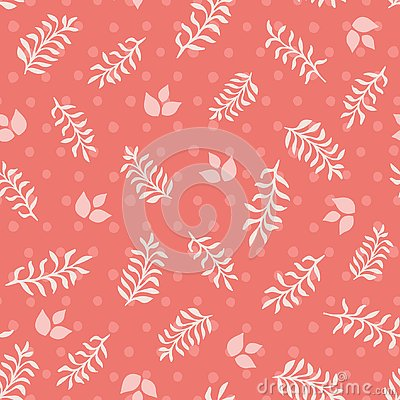 Pink leaves and sprigs on coral dots seamless vector texture background Vector Illustration