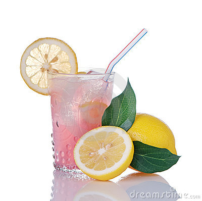 Pink Lemonade In Glass With Lemons