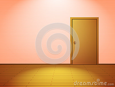 Pink lightened room with door
