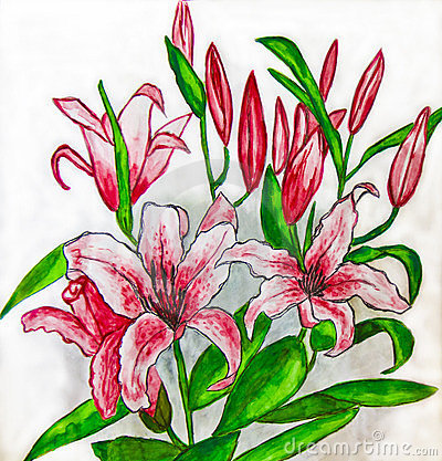 Pink lilies, painting