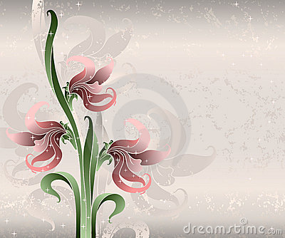 Pink lilies on silk