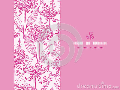 Pink lillies lineart horizontal seamless pattern