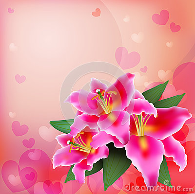 Free Pink Lily On A Soft Background. Royalty Free Stock Photography - 45943327