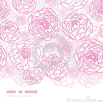 Pink line art flowers horizontal seamless pattern