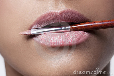 Pink Lips and Make-up Brush