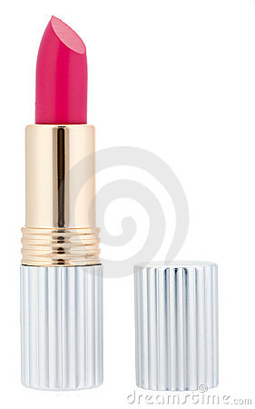 Pink lipstick with metal tube