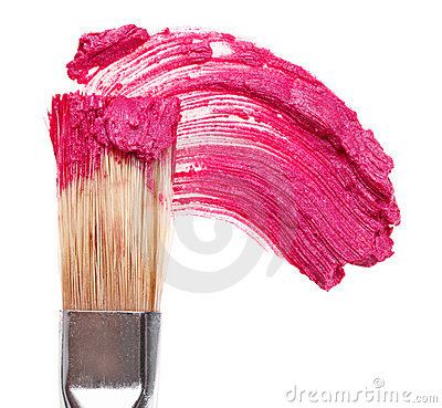 Pink lipstick stroke (sample) with makeup brush