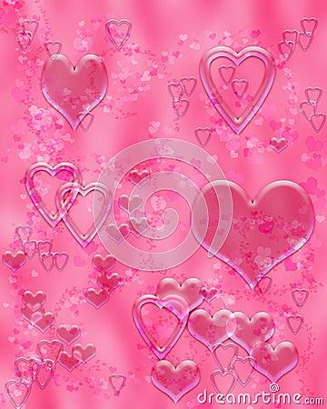 Pink liquid hearts