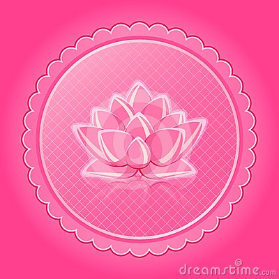 Pink Lotus Flower in Round Shiny Label