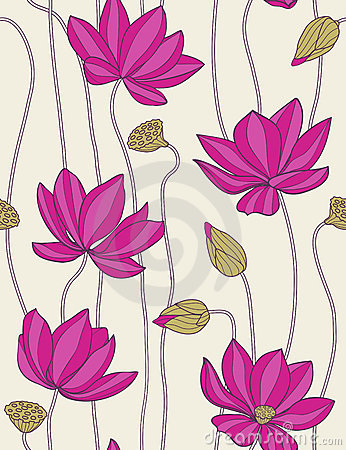 Pink lotus - seamless pattern