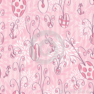 Pink Love Doodle Seamless Pattern_eps
