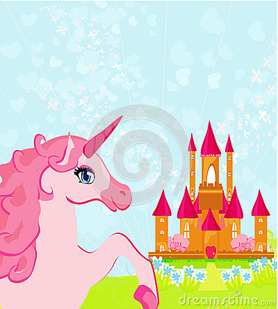 pink magic castle and unicorn