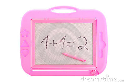 Pink magnetic drawing board with a 1 + 1 equation