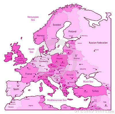 Pink map of Europe