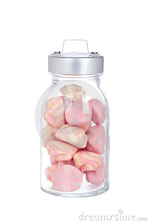 Pink marshmallows in the glass jar