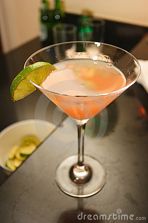 Pink martini on a bar