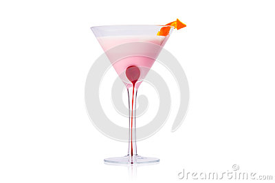 Pink martini cocktail