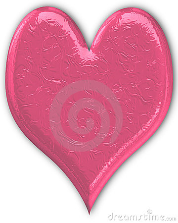 Pink Metallic Heart Embossed
