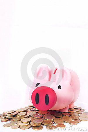 Pink money piggy bank savings