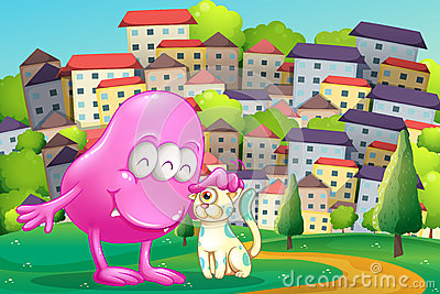 A pink monster patting a pet at the hilltop across the buildings