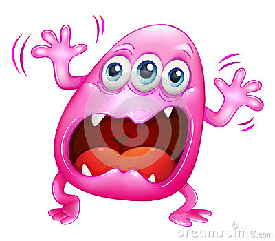 A pink monster shouting because of frustration