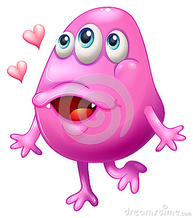 A pink monster with two hearts