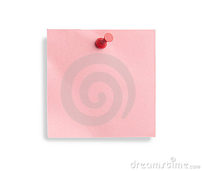 Pink note with red pin