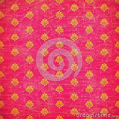 Pink and orange damask grunge wallpaper