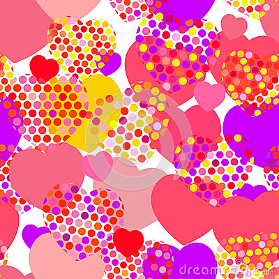 Pink orange lilac red yellow heart with polka dot heart seamless pattern on white background. Vector Vector Illustration