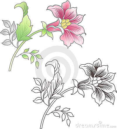 Pink and outlined flower, floral background