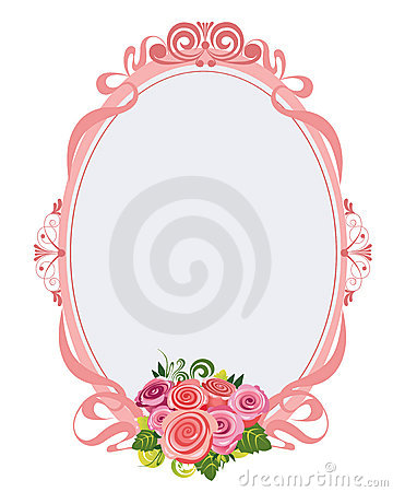 Pink oval frame with roses
