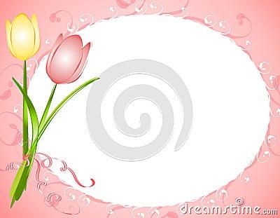 Pink Oval Tulips Flower Frame Border