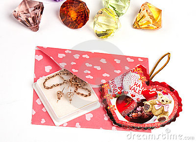 Pink packet with gift for Valentine s